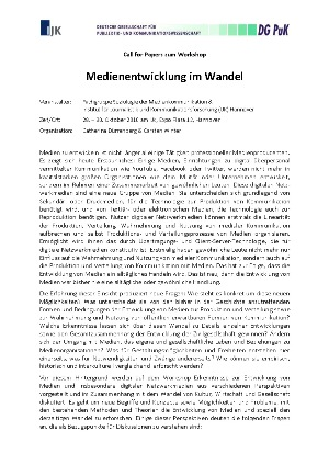 "Call for Papers Tagung ""Medienentwicklung im Wandel"""